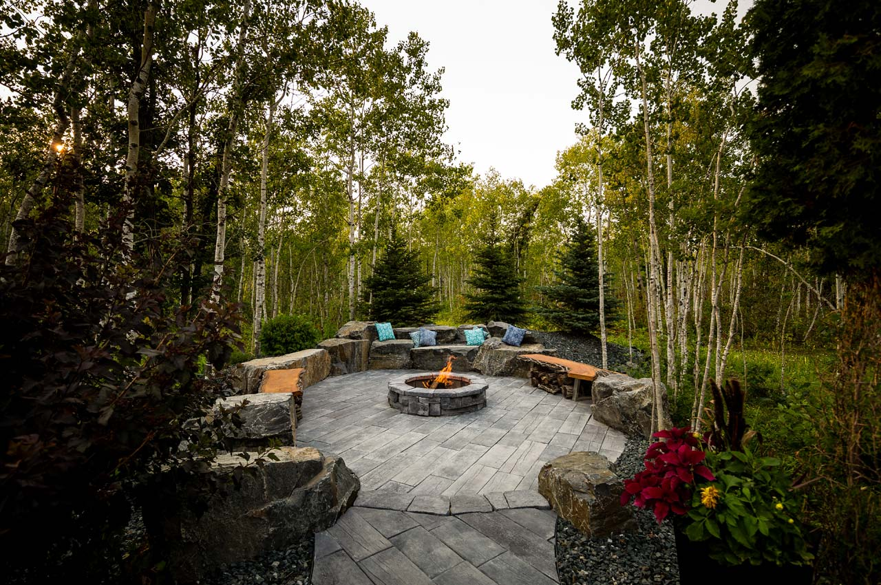 Bridgewood Slab Patio With Belvedere Firepit