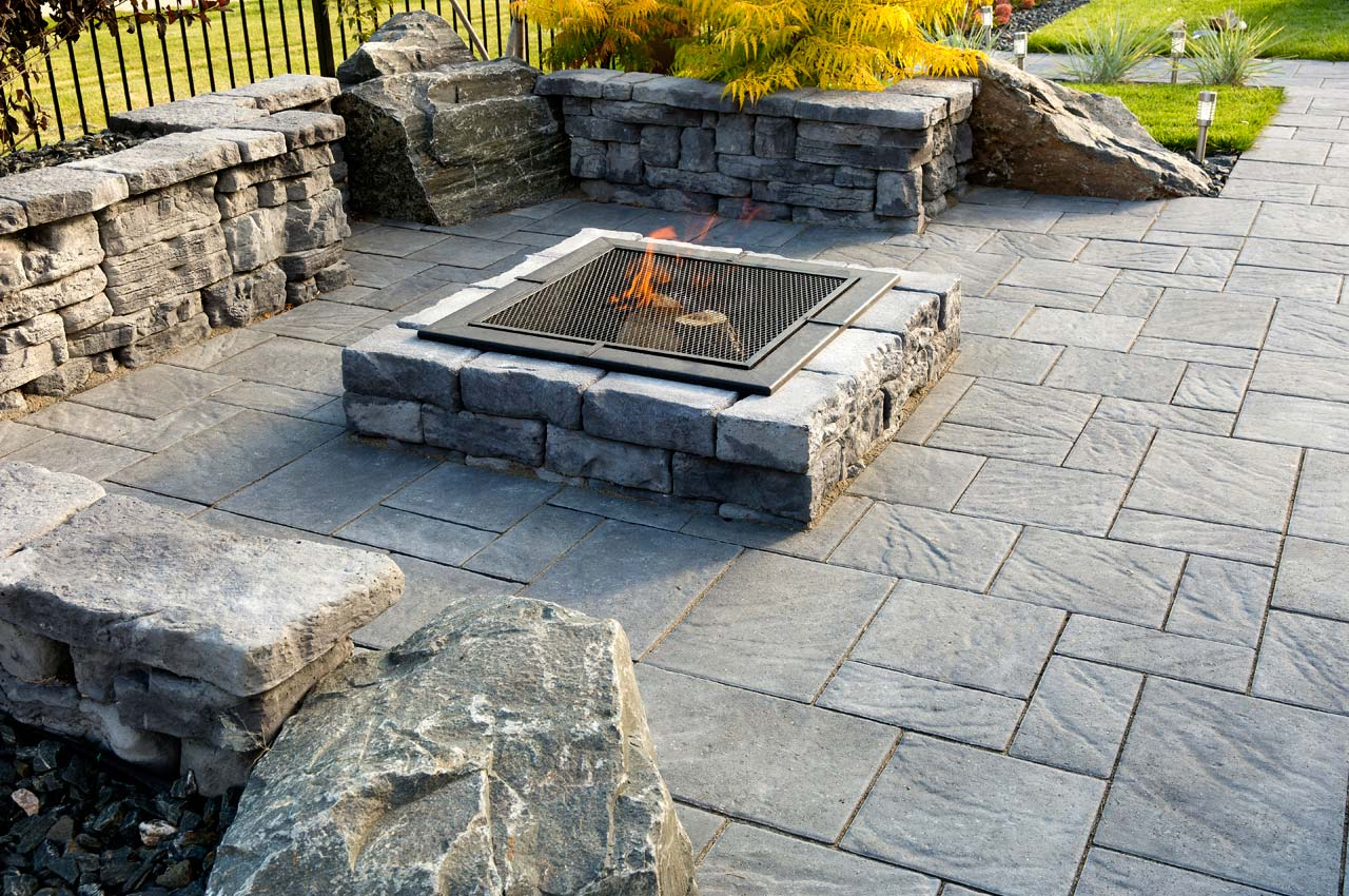 Rosetta Dimensional Square Firepit with Navarro Patio
