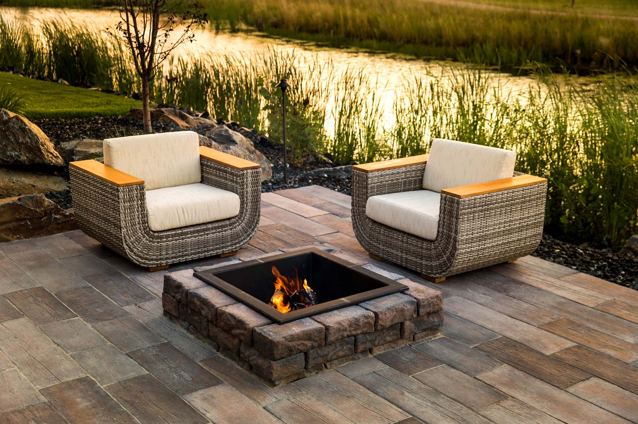 Rosetta Dimensional Square Firepit with Bridgewood Patio