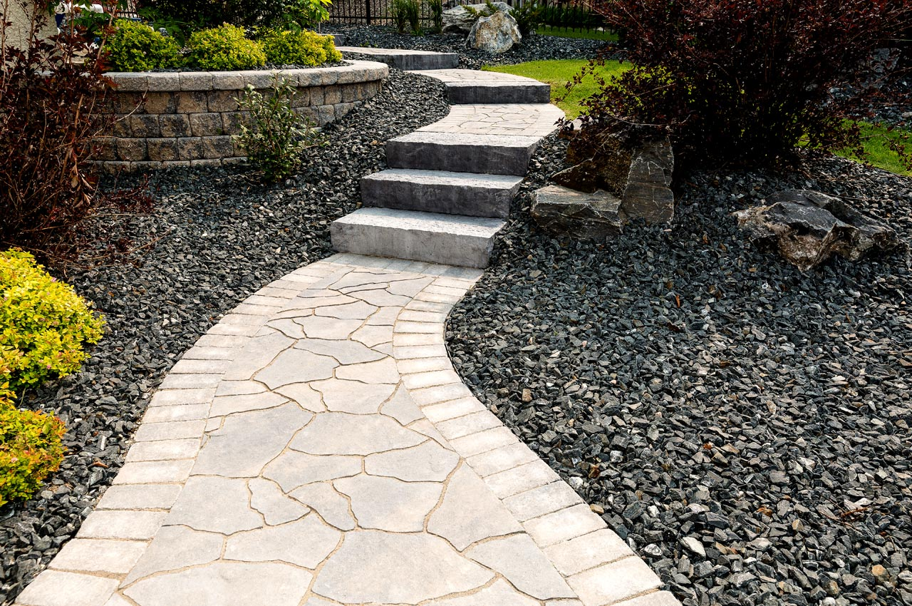 Flagstone Paver Path with Roman Edging and Rosetting Dimensional Step
