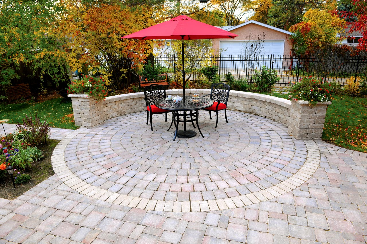 Roman Circle Pavers with Roman Paver Patio