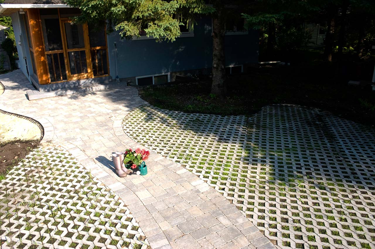 Turfstone Eco Paver Patio With Roman Path