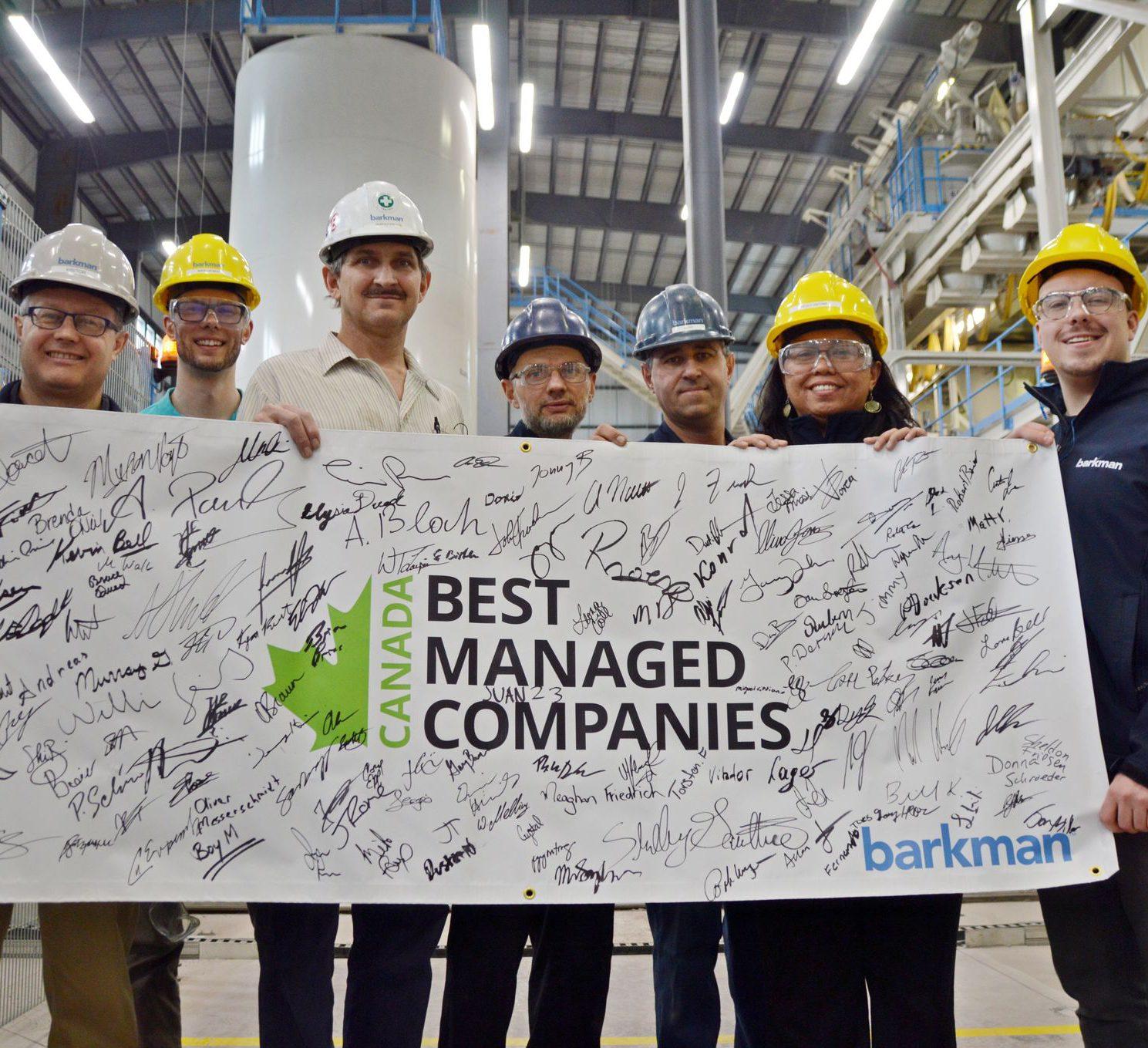 Barkman staff and banner